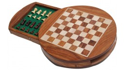 Wood Magnetic Round Chess Set 9""