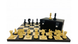 """Combo of The Camelot 3.25"""" Ebony Wood Chess Pieces with !9"""" Ebony wood Board and Storage Box"""