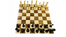 """Minimalist Hermann Ohme Chess Pieces 3.6""""Ebonised with Sheesham wood Borderless chess board 50 mm square"""
