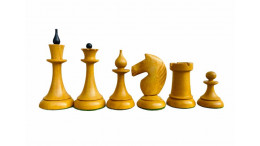 "The Queen Gambit Chess Pieces 4""Ebonised Wood and Antique Boxwood"