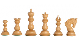 """Altamura  Staunton Chess Pieces Set - Triple Weighted - Budrose Wood  4.5""""- Extra Queens"""
