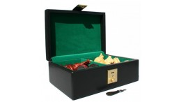 "STORAGE BOX WITH LEATHERETE COVERING FOR 3.75"" AND 4"" CHESS PIECES"