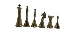 ART DECO SOLID BRASS CHESS PIECES 4""