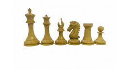 """The Sinquefield Original Chess Pieces in Genuine Ebony Wood and Boxwood 3.85"""" King Triple Weighted"""