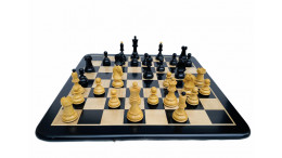 """1950 Reproduced Dubrovnik Fisher Chessmen in Boxwood/Ebonised 3.7"""" with 19"""" Ebony wood Chess Board"""