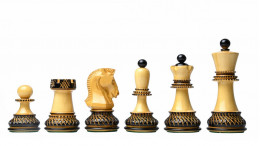 """1950 Reproduced Dubrovnik Bobby Fischer Chessmen  In Lacquer Finished Burnt & Natural Boxwood - 3.7"""" King"""