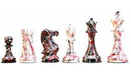 STAUNTON CHESS SET IN PAINTED BOXWOOD WITH COLORFUL ACCENTS – 4″