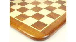 Chess Board Wooden Sheesham Golden Brown Wood 19""